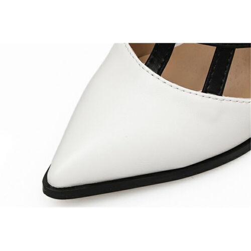Womens Pointed Toe Black White Buckle Block High Heels Pumps Slingback Shoes Sz