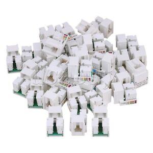 50PCS-RJ45-Cat5e-Network-LAN-Cable-Module-Wall-Plug-Jack-Adapter-White