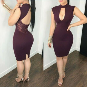 Women-Sleeveless-Short-Party-Evening-US-Hollow-Sexy-Dress-Cocktail-Bodycon-Lace