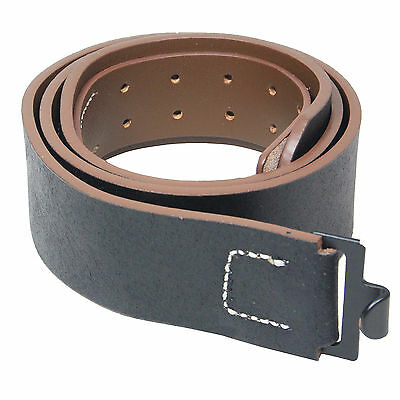 German Army Elite OFFICERS BLACK LEATHER BELT All Sizes WW2 Military Repro