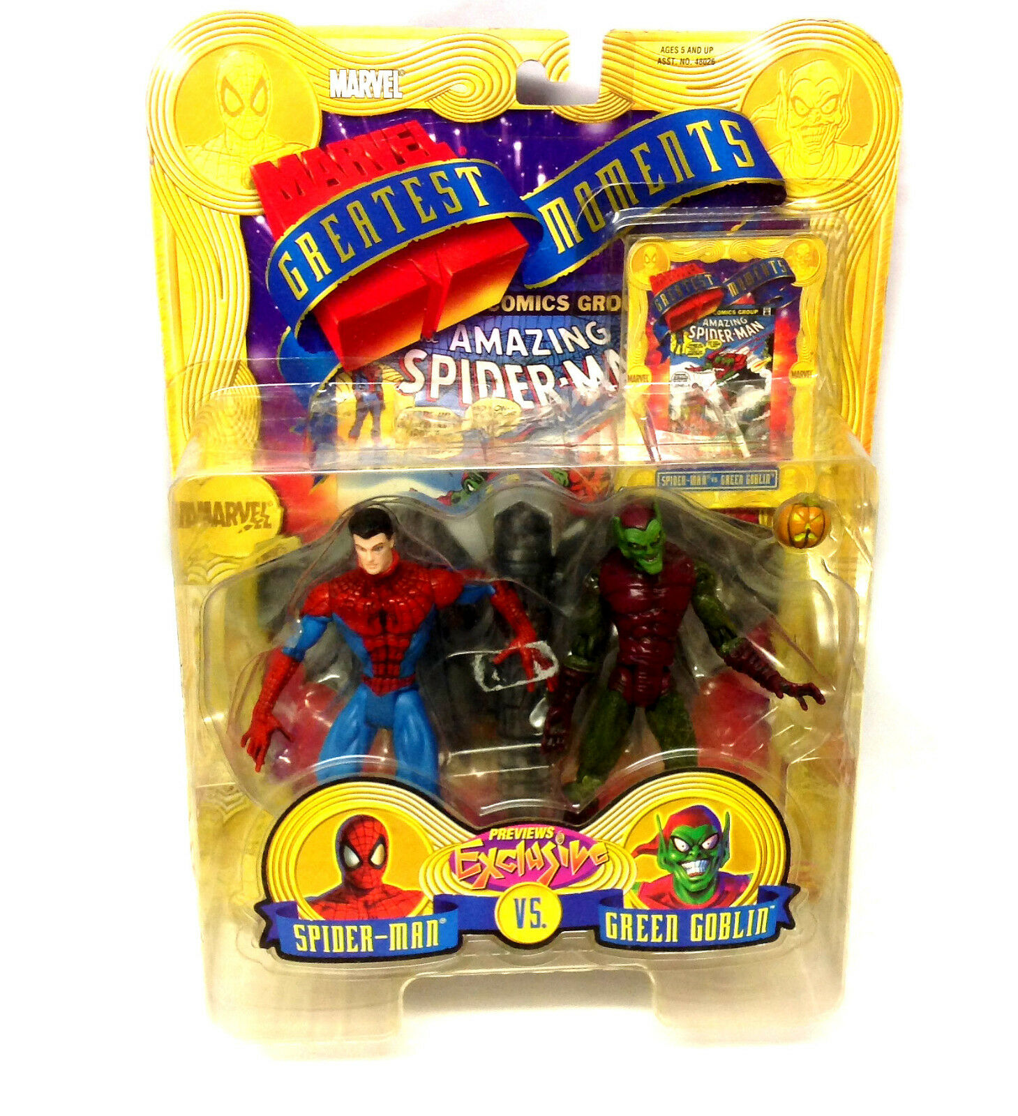 Vintage 90s Marvel Comics Spiderman & Grün Goblin previews exclusive figure set