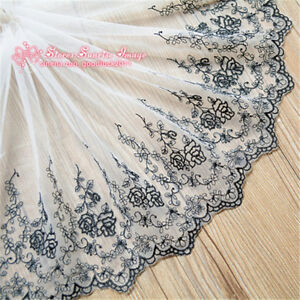 1Y-Floral-Embroidered-Tulle-Lace-edge-Trim-Mesh-Ribbon-Fabric-Sewing-Craft-FL113