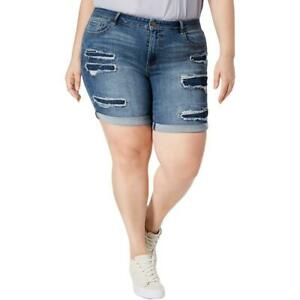 40bb6e83cf WILLIAM RAST Women's Plus Size Distressed Denim Bermuda Shorts, | eBay