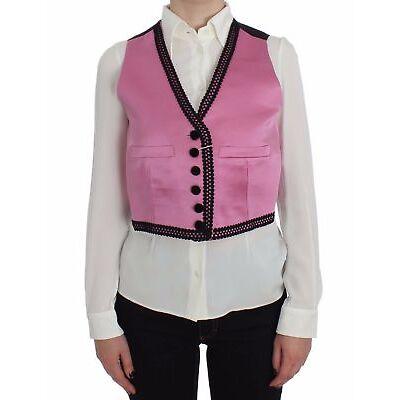 NEW $880 DOLCE & GABBANA Vest Pink Silk Button Front Torero Top s. IT42 /US8 / M