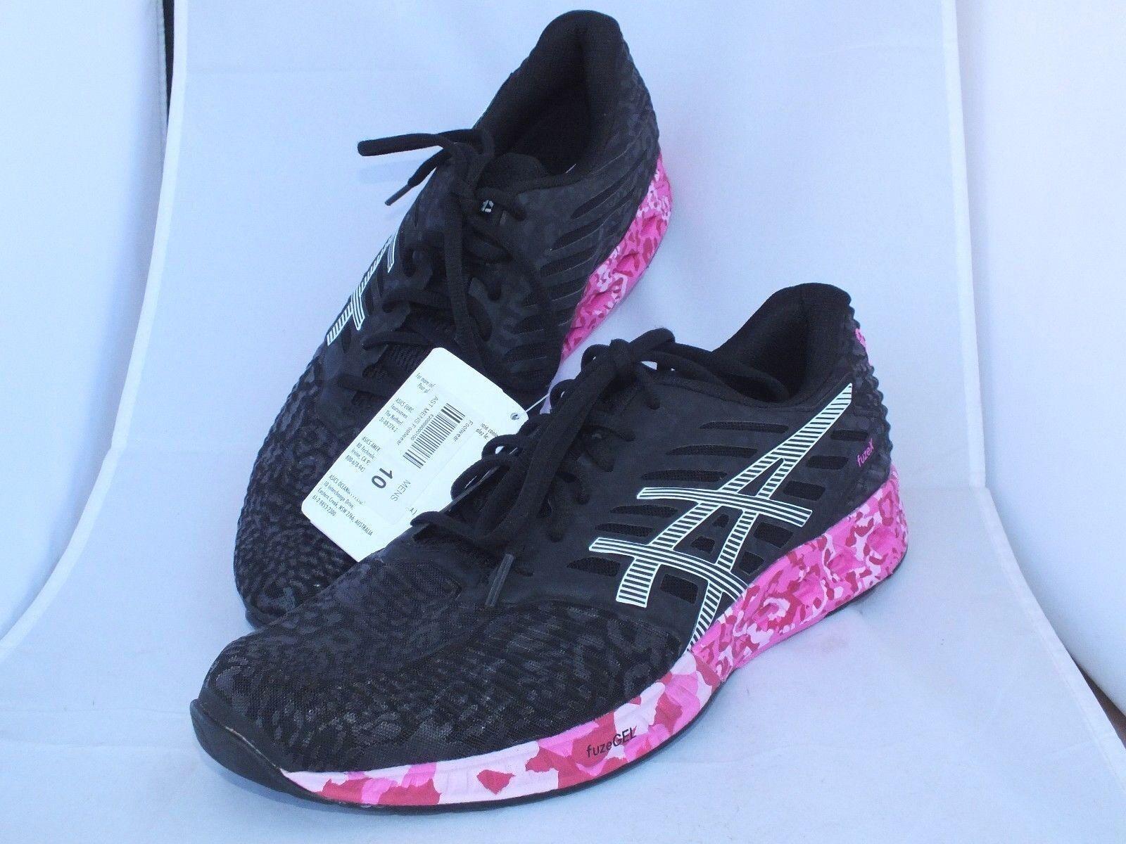 Asics fuzeX PR T6J2N 9001 Black White Pink 10 Ribbon Running Mens Size 10 Pink Cancer 62b966