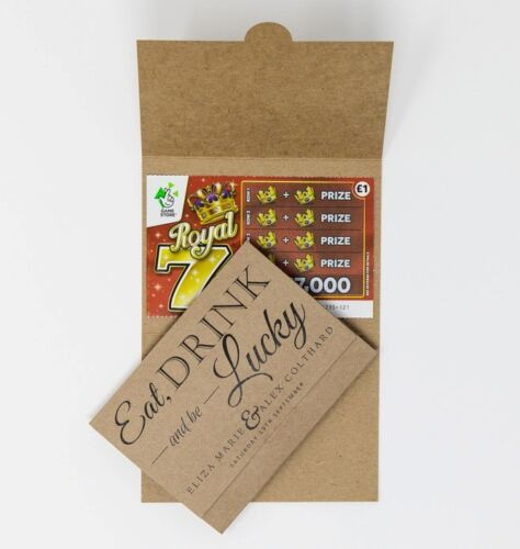 Personalised Lottery Ticket Holders Lotto Wedding Favours Scratchcard Favor