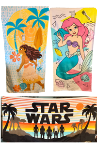 NEW-Disney-Beach-Towels-Star-Wars-Moana-amp-Ariel-100-Cotton-29-034-x-59-034-NWT