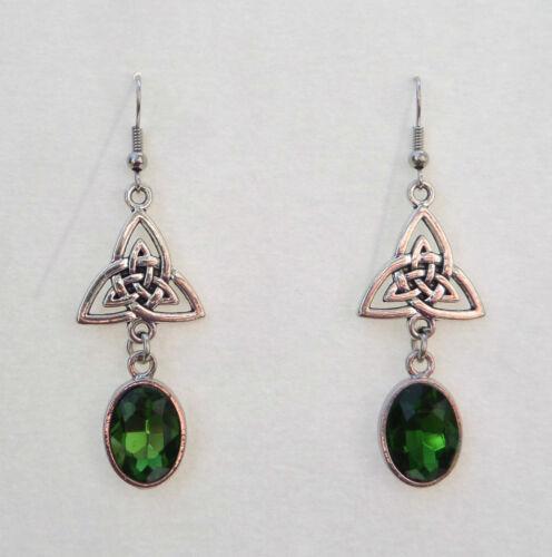 Cristal Verde Facetado Oval Nudo Celta oscuro plata plateado Tri pendientes