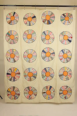 """Dresden Plate Quilt Top Hand Embroidered Edges On Muslin 20 Plates 66"""" x 82"""""""