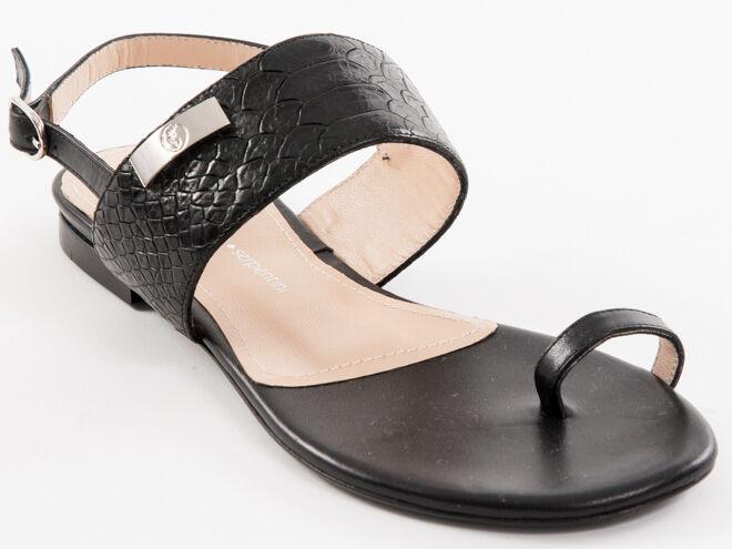 Nuevo Nuevo Nuevo roberto serpentini negras de piel sandalias fabricado en Italia tamaño 37 a6e121