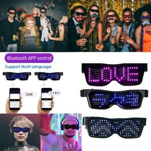 Bluetooth LED Glasses DIY Light Up Glowing APP Control Eye Glasses Club Party DJ