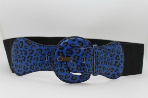 Women Fashion Wide Blue Belt Elastic Leopard Cheetah Animal Print Size XS S M