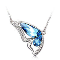 New Silver Crystal Butterfly Pendant Necklace Swarovski Crystal Elements Boxed