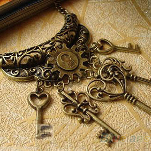 Women Good Hollow Statement Love Heart Key Pendants Long Sweater Chain Necklace