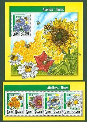 Guinea Bissau 2015 - Bienen + Blüten - Honigbiene Mohn - 7915-18 + Block 1378 Hohe QualitäT Und Geringer Aufwand