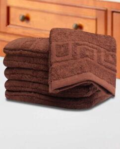 Paire-de-Superior-Wash-Mitts-debarbouillettes-Gant-en-flanelle-100-coton-Scrub-marron