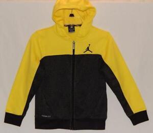 1915a9a1173ac1 NIKE JORDAN Kids Boys Yellow Black geometric Full Zip Hoodie Size ...