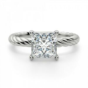 2.00 Ct Princess Genuine Moissanite Engagement Ring 14K Solid White Gold Size 9