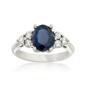 Oval-14K-White-Gold-2-65-Ct-Diamond-Engagement-Sapphire-Ring-Size-P-Q-R