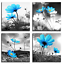 4Pcs Flowers Painting Print Modern Canvas Wall Art Picture Hotel Cafe Home Decor