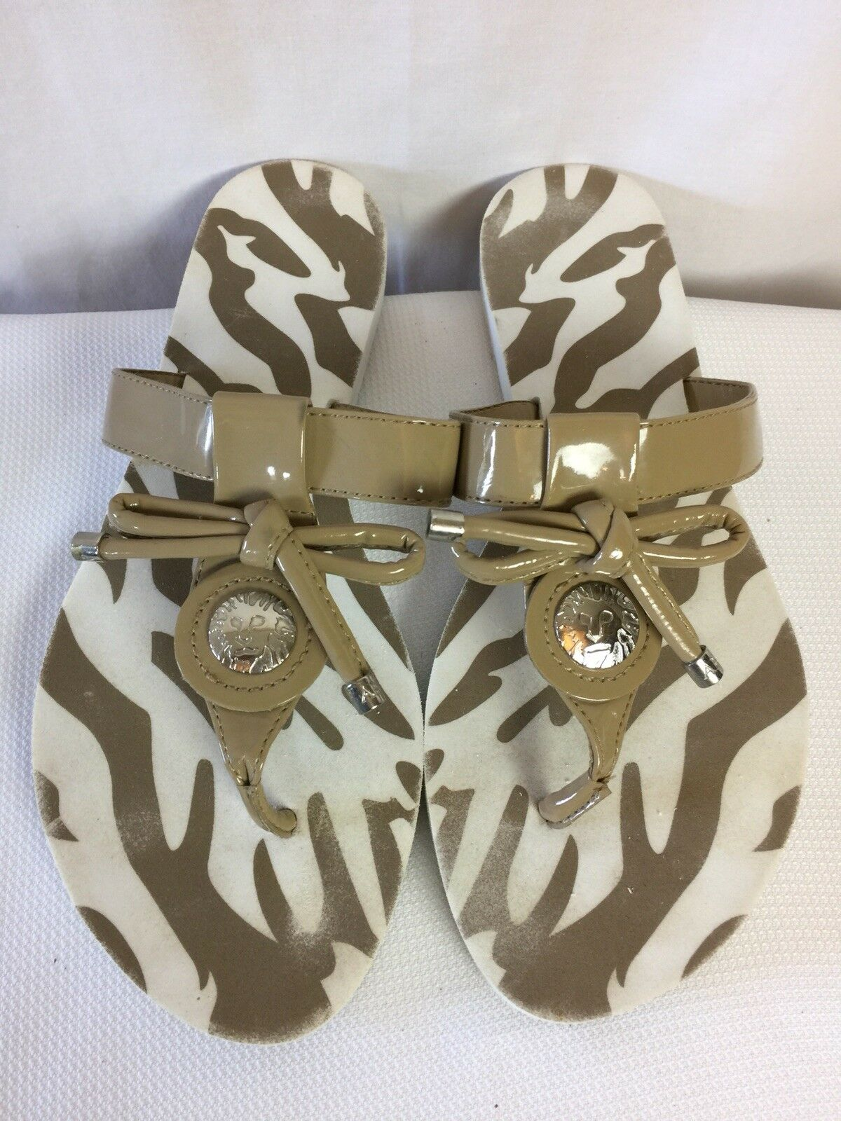 Anne Klein Women's  Thong silver Flip Flops Taupe Bow silver Thong Logo Size 8 M 7fd78f
