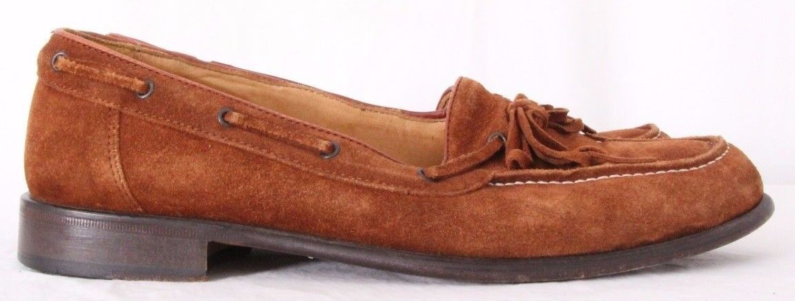 Zelli 204 1273  Leather Leather Leather Tie boat Slip On Moc Toe Loafers Women's US 8.5 M dc3242