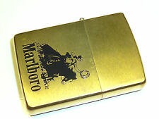 "MARLBORO ""COWBOY HORSEMAN"" ZIPPO BRASS LIGHTER - NEVER STRUCK - 1991 - RARE"