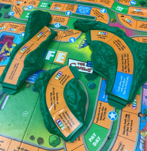 The Game of Life Simpsons Replacement Parts Pieces Tokens Cards Spinner Tiles