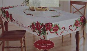 St Nicholas Square Woodland Retreat Snowman Border 60x102 Oblong Tablecloth NWT