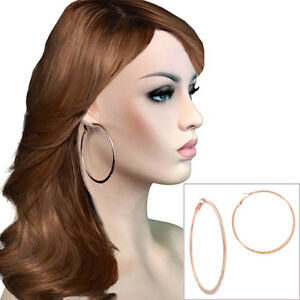 Image Is Loading Usa Made Oversized Hoop Earrings Rose Gold Tone