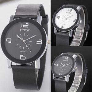 Fashion-Mens-Stainless-Steel-Watch-Analog-Quartz-Watch-Dial-Leather-Wristwatch
