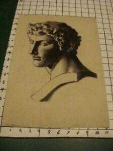original drawing: classic bust; Signed BARNES, dated dec 18, 1913
