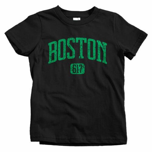 Boston 617 Kids T-shirt Massachusetts Beantown MA Baby Toddler Youth Tee