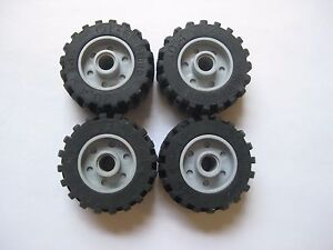 Lego-30-4x14-Technic-Wheels-LOT-OF-4-with-Gray-Rims-Mindstorms-55981-amp-30391