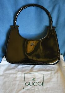 18c950f0fef5 Image is loading Authentic-GUCCI-Black-Bamboo-Handle-Patent-Leather-Purse-