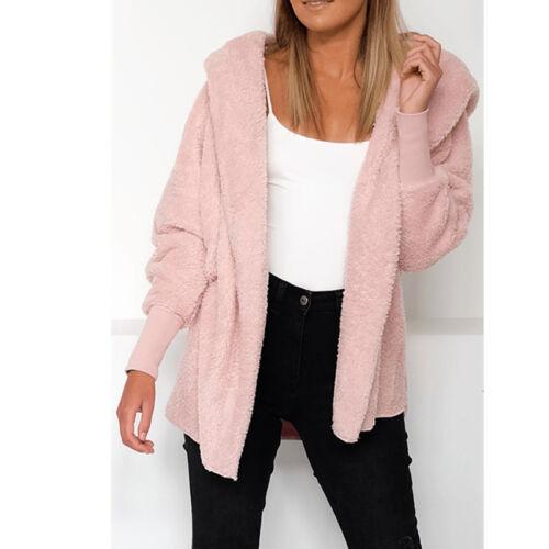 Women Winter Hooded Pullover Plush Fluffy Coat Fleece Fur Jacket Warm Overcoat