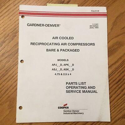 Gardner Denver APJ APK ASJ ASK SERVICE OPERATION MANUAL PART BOOK AIR COMPRESSOR EBay