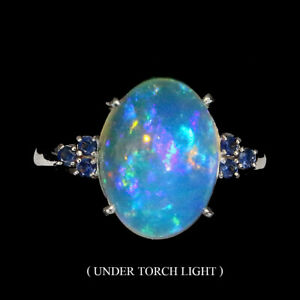 Oval-Fire-Opal-Full-Flash-14x10mm-Sapphire-Diamond-Cut-925-Sterling-Silver-Ring