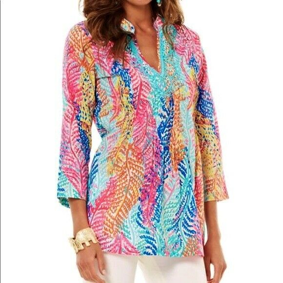 NWT LILLY PULITZER SARASOTA TUNIC CAMEO WHITE ELECTRIC FEEL S,M GRAIL