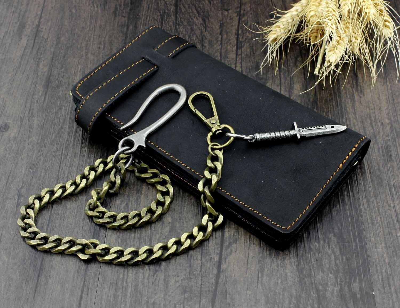 Mens Vintage Black Leather Biker Wallet Purse With Brass Cuban Link Key Chain
