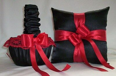 BLACK SATIN / RED LACE TRIM FLOWER GIRL BASKET & RING BEARER PILLOW # 1
