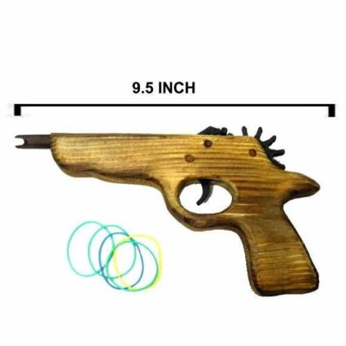 2 SHORT BARREL ELASTIC SHOOTER GUN boys play elestic RUBBER BAND pistol toy wood