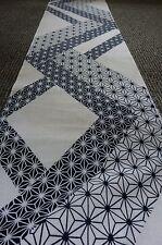 "Indigo Blue White Asanoha Hemp Vintage Japanese Yukata Kimono Cotton Fabric 50"""