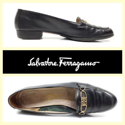 4988176ef3f7d Details about Salvatore Ferragamo women's black lizard skin loafers w/gold  hardware~8/US