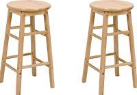 Wooden Bar Stools Kitchen 2 Set Breakfast Stool Barstools Wood Seat Bars Chair