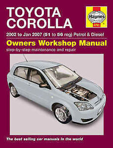 toyota corolla repair manual haynes manual workshop manual 2002 2007 rh ebay co uk repair manual toyota corolla 2002 toyota corolla 2002 haynes manual