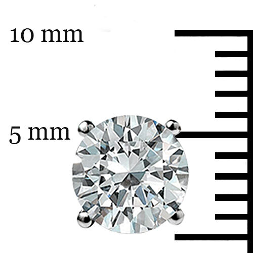 1.50 CT Round Cut Solitaire Boucles d/'oreille Lab D idéal Vis Arrière 14k Or Blanc