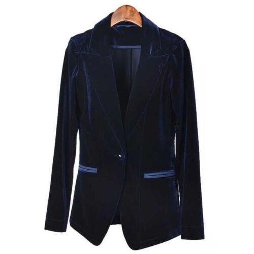 Women Fashion Velvet Blazer Red Blue Elegant Blazers Jackets