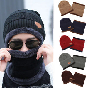 Men-039-s-Winter-Beanie-Hat-and-Scarf-Warm-Fleece-Knitted-Thick-Knit-Cap-Unisex