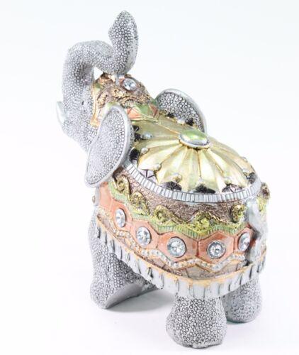 "Feng Shui 6.5/"" Gray Elephant Trunk Statue Lucky Figurine Gift Home Decor"